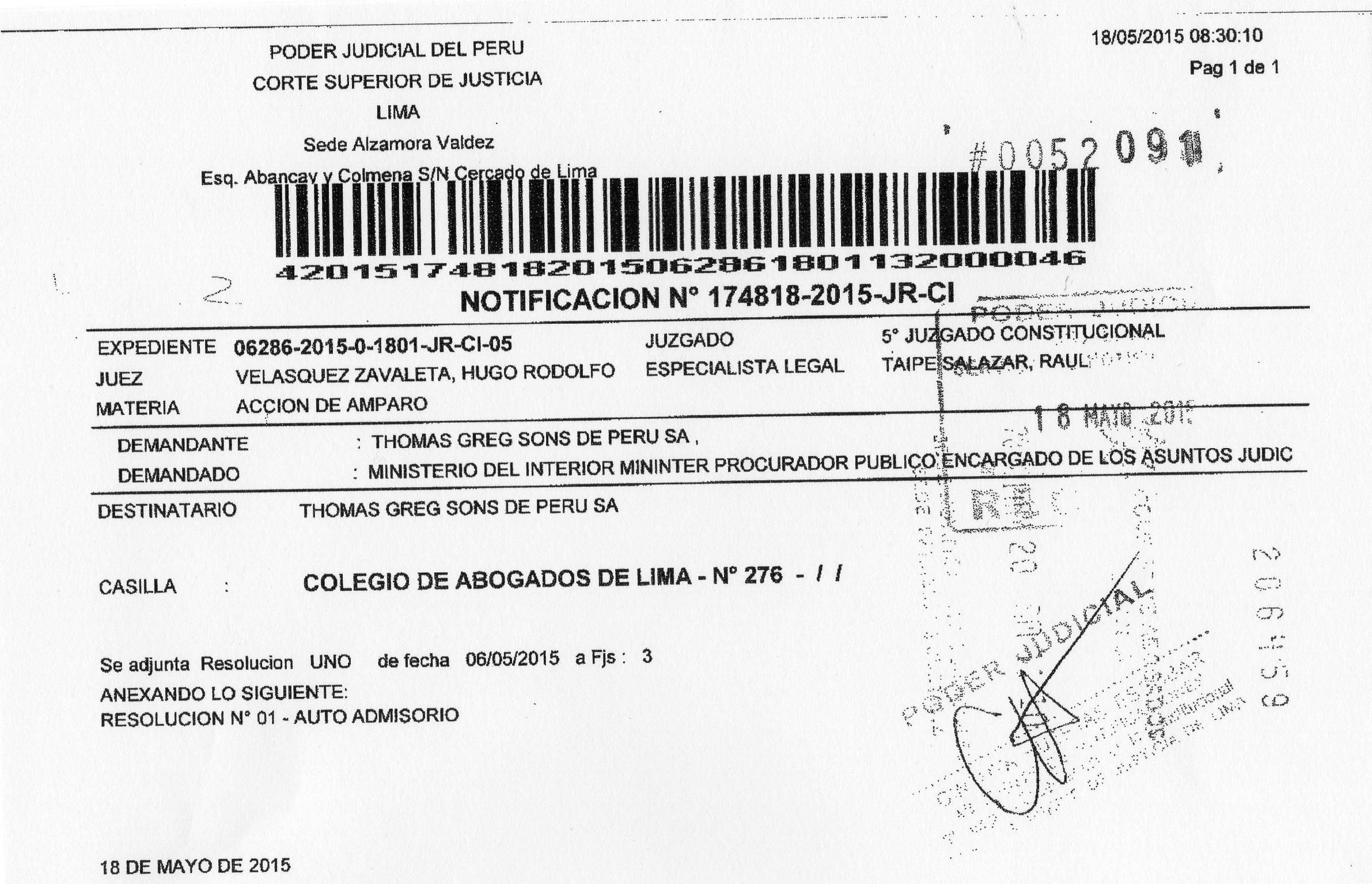 E pasaportes pj admite amparo contra mininter y for Ministerio del interior peru