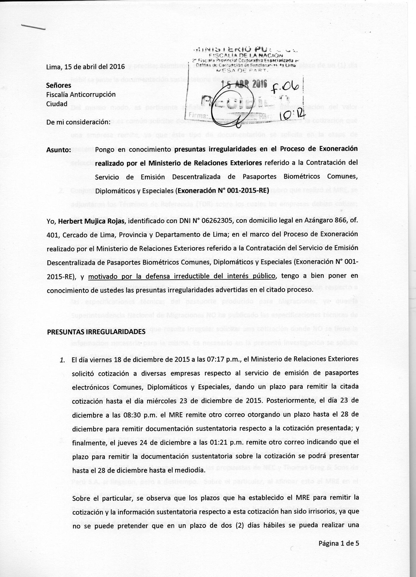 Cancillería denunciada por e-pasaportes, por Herbert Mujica Rojas