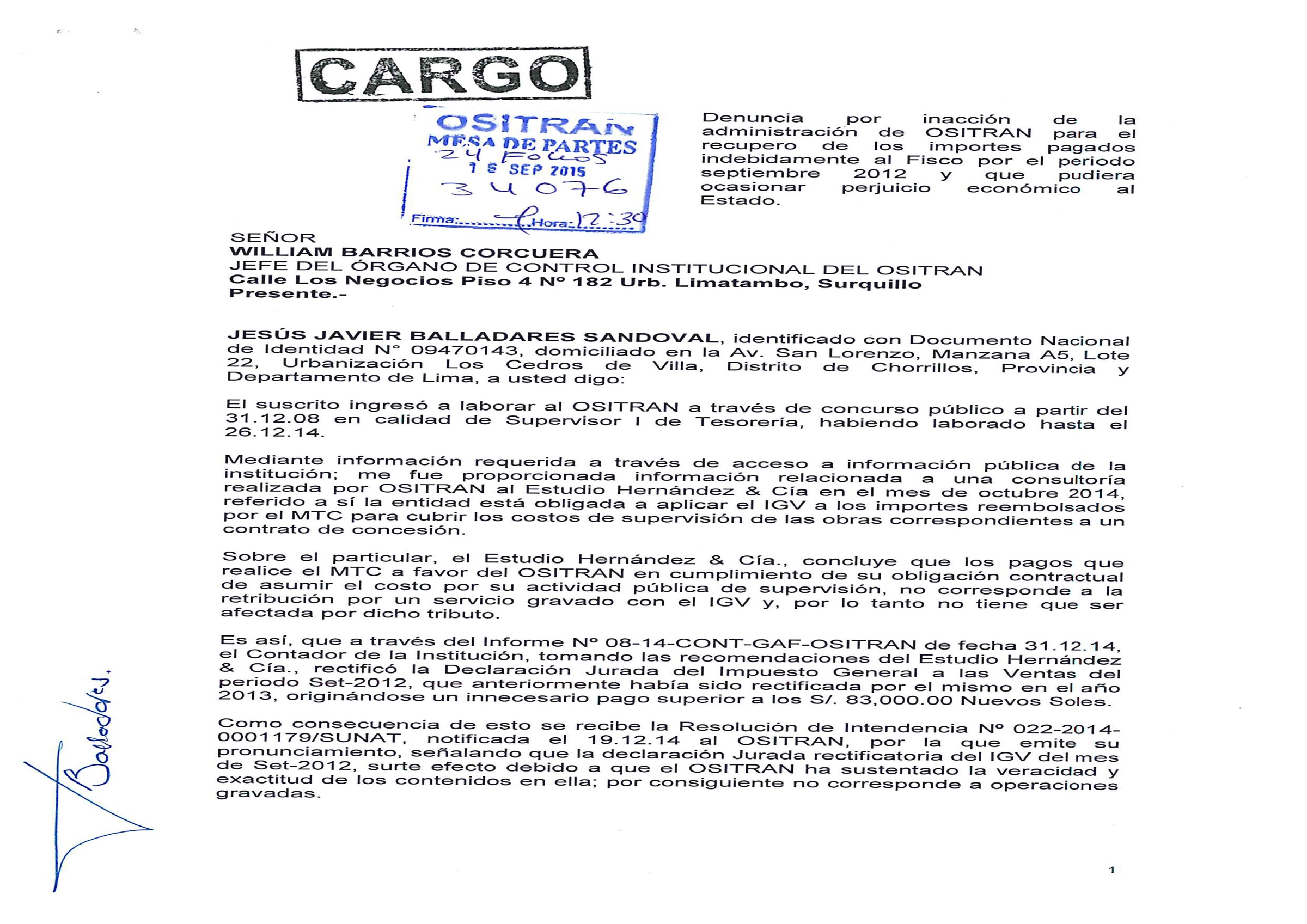 OSITRAN: ¡nueva denuncia y sigue despelote!, por Herbert Mujica Rojas