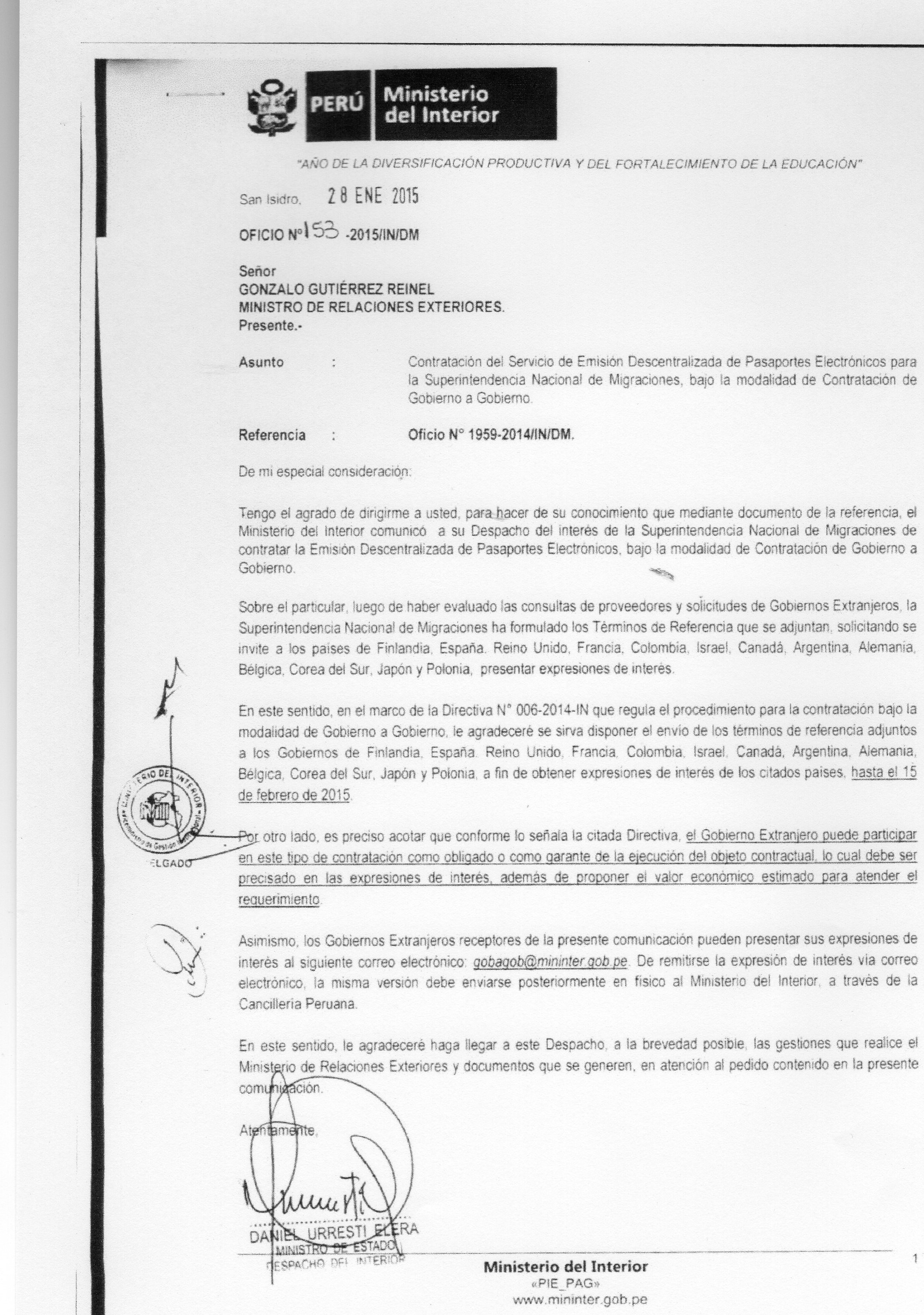 Confirmado pasaportes electr nicos de gobierno a for Ministerio interior pasaporte