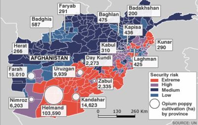 Map of Afghanistan showing major poppy fields and intensity of conflict 2007-08.