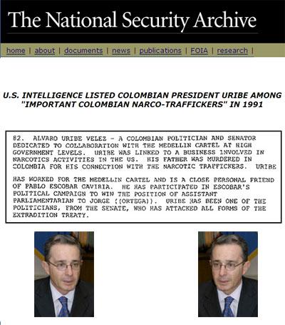 Ahora USA dice que Uribe es narco