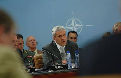 El presidente serbio Boris Tadic en la sede de la OTAN, el 19 de julio de 2006