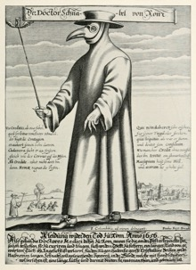 Costume of a plague doctor. His mask has remained today as an accessory to the Venice Carnival.