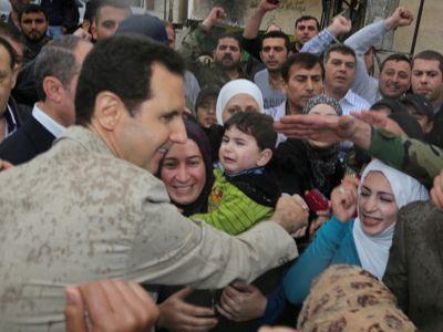 President Assad in Maaloula, by Wassim Raad