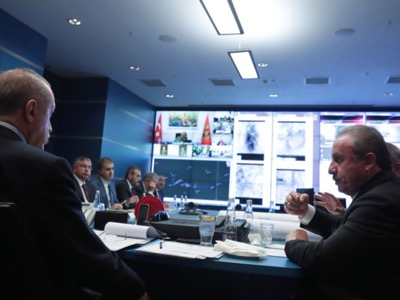 Operation Source of Peace coordination meeting in the White Palace Command Bunker in Ankara.