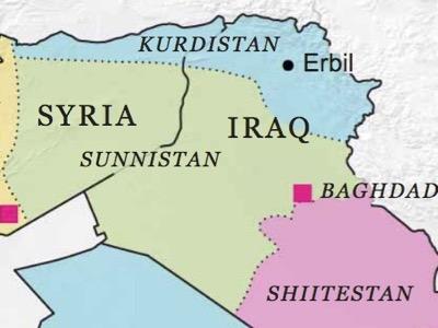 Questa mappa è stata pubblicata da Robin Wright nove mesi prima dell'offensiva di Daesh in Iraq e Siria. Secondo la ricercatrice del Pentagono, essa rettifica quella pubblicata nel 2005 da Ralf Peters per il rimodellamento del Medio Oriente allargato.